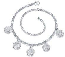 Посеребренные Браслеты, 925 ювелирные изделия Способа Серебряные Очарование Ножные Браслеты Выдалбливают Цепь Ноги Пять Подвески Браслеты для женщин