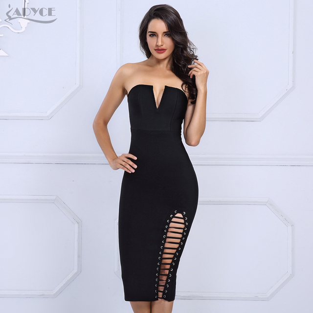 Black Strapless Side Lace Up Bodycon Party Dresses 4