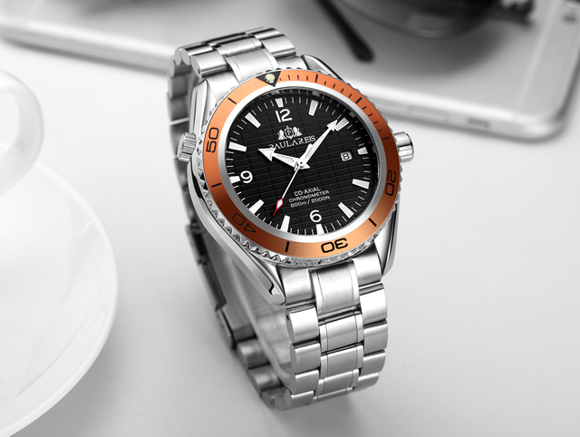 Men Automatic Self Wind Mechanical Stainless Steel Strap Simple Orange Blue Black Bezel James Bond 007 Style Date Business Watch