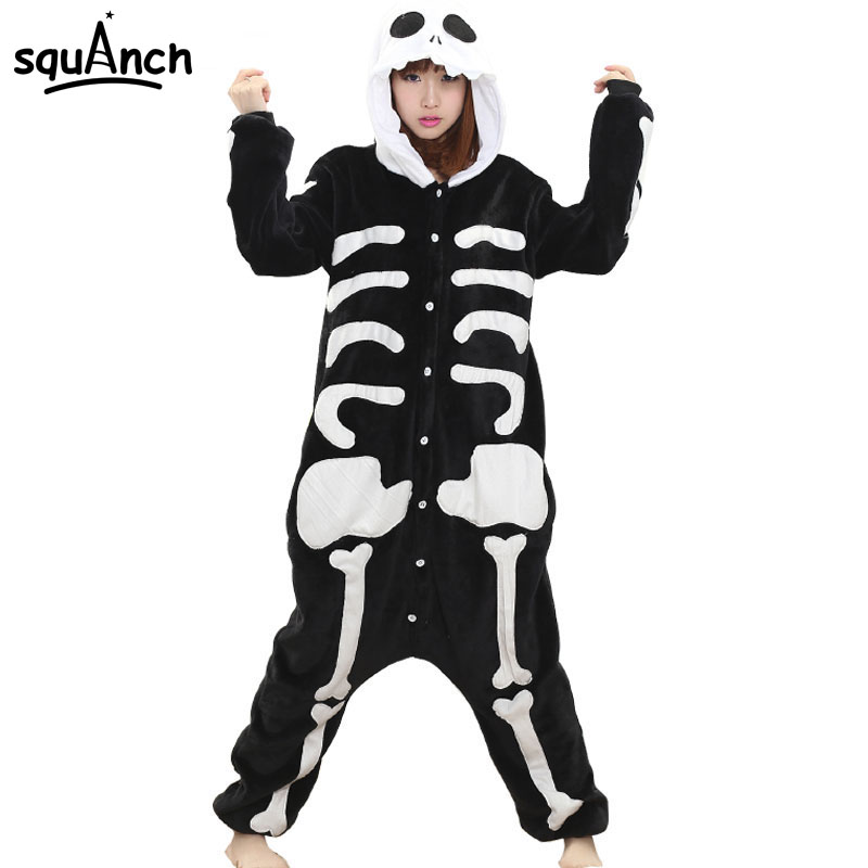 Women Onesie Skeleton Costume Funny Pajama Adult Cartoon Party Role Play Suit Winter Warm Flannel Jumpsuit Hallween Clothing