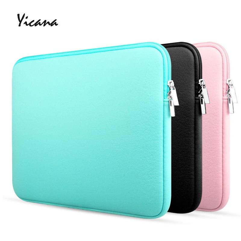 Yicana 11 12 13 14 15.6 inch sleeve laptop case for MacBook Air Pro Ultrabook Notebook Tablet computer Portable Soft Zipper bag