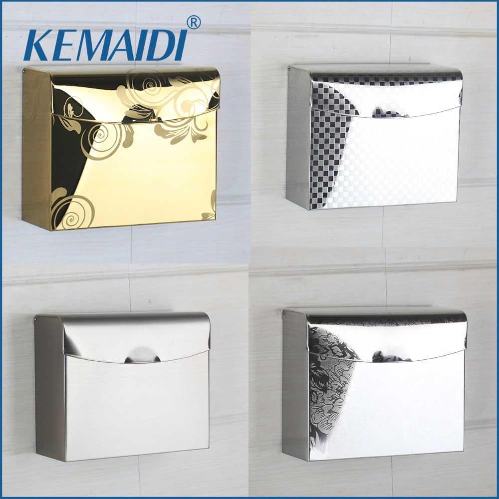 KEMAIDI Bathroom Accessories Stainless Steel Toilet Paper Holder Paper Box Wall Mounted Nickel Brushed&Gold Finished  Modern