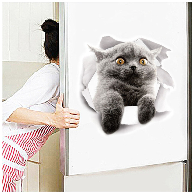 3d vivid cat wall stickers wall decals refrigerator toilet door home decoration animals mural art poster