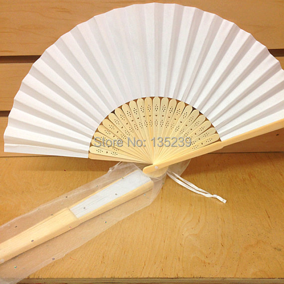Aliexpress Buy White Folding Paperhand Fan With Gift Bag