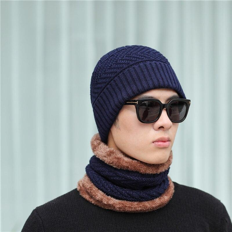 915a6a0b72e5b Sombrero del invierno gorro bufanda invierno sombreros para hombres de  sombrero hombres sombrero de punto sombrero tejido Día de Acción de Gracias  H1011A ...
