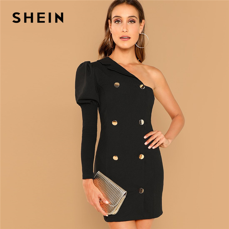 642d9ed7ac Detail Feedback Questions about SHEIN Black Party Double Breasted One  Shoulder Puff Sleeve Natural Waist Solid Dress 2018 Autumn Fashion Casual  Women ...
