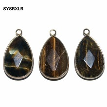 Wholesale Natural Water Drop Faceted Stone Tiger Eye Charm Golden Plated DIY Fit Necklace Earrings For Jewelry Making