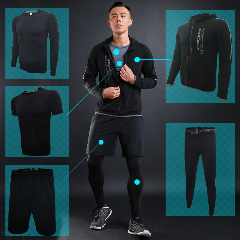 Autumn Winter Men's Running Sets 5pcs Compression Fitness Sports Suits Basketball Tights Hooded Clothes Gym Jogging Tracksuits - 6