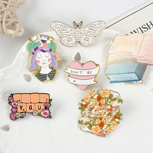 Pink Love Enamel Pin Keyboard surrounded by flowers Book Ribbon Brooches Moth Animal badges Tailor woman Jewelry full girl Heart