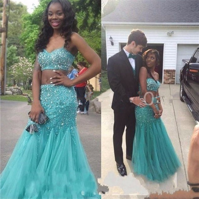 Aliexpress Buy Mermaid Green Two Pieces Prom Dresses 2017
