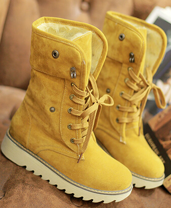 Women autumn winter short snow boots thick cotton-padded solid color  flat heels lace-up shoes large plus size 40-43 2013 women autumn winter fashion candy color faux wool fur collar hood slim long thick cotton padded coatm l xl d2151