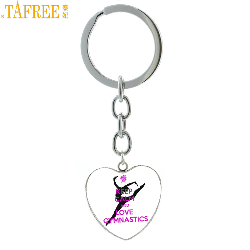 TAFREE Keep Calm And Love Gymnastics heart shaped pendant keychain gym lover jewelry women bag car key chain ring holder HP664 цены онлайн