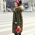 La chaqueta larga del invierno, 2016 nuevo vestido Coreano delgado cuello de piel de mapache chaqueta de la capa gruesa