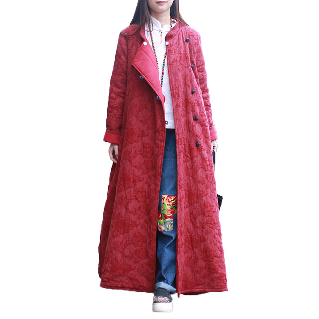 2016 New Traditional Chinese Winter Jacket Women Cotton Padded Down Coat Basic Coats Long Jackets Contrast Color Pockets