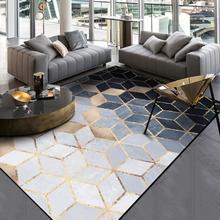NEW INS Nordic Modern Metal Golden Carpet Black Geometric for Bedroom Door Rug Livingroom Parlor Tapete Wind Mat