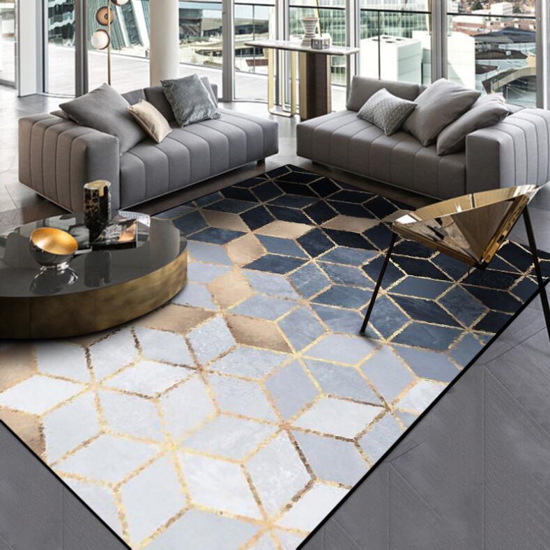 Nouveau INS nordique moderne métal doré tapis noir géométrique pour chambre porte tapis salon tapis salon Tapete métal vent tapis