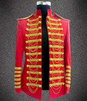 Stage Wear Nightclub Blazer Fashion Casual Red Black Chain Male Slim Costume Clothes Men Singer Ds Performance Jacket
