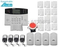 Venta caliente, pantalla LCD Wireless Home seguridad GSM Alarma systeme con 12 puerta/ventana imán sensor, 4 pir motion detector