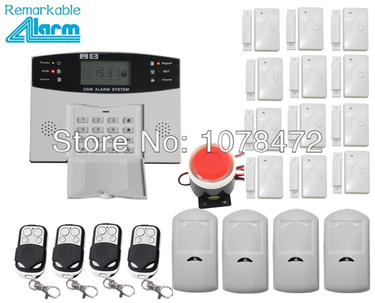 hot selling,LCD display Wireless Home security GSM Alarm systeme with 12 door/window magnet sensor, 4 PIR motion detector hot sales touch keypad lcd display wireless wired home security gsm alarm system 6 door magnet 6 pir sensor friendly interface