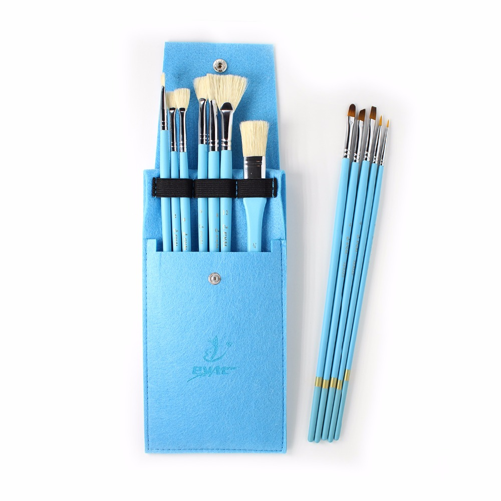 Eval 12pcs Nylon Painting Brush Bristle Brush Set Acrylic Oil Paint Brush for School Student Professional Art Supplies bgln 12pcs set bristle hair flat oil painting brush mix size solid wood pole artist oil acrylic paint brush art supplies