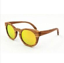 fashion Colorful Reflective lens Wood sunglasses Latest Men/Women Handmade Wooden frame Sunglasses Retro Polarized Eyeglasses