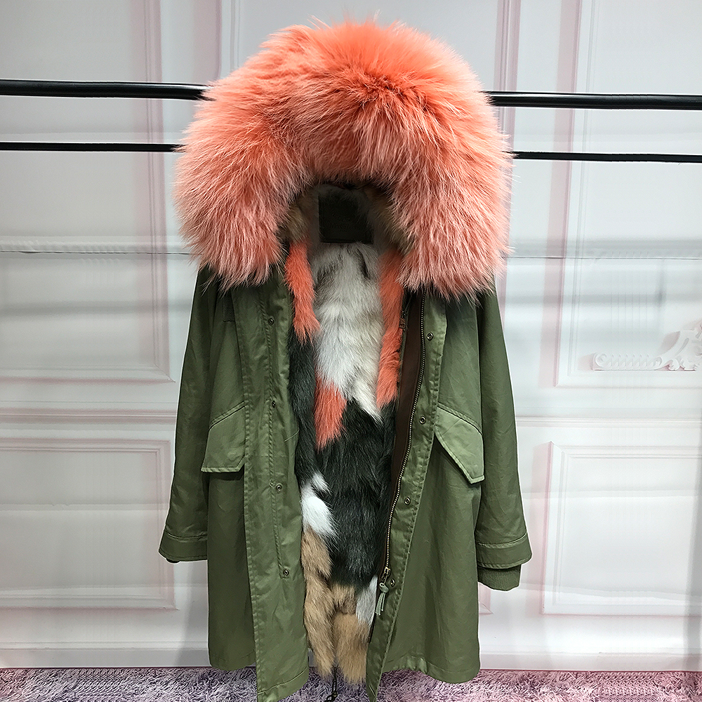 Real fox fur liner parka natural raccoon fur collar hood jacket women real fur coats for winter woman long army green parkas 2017 winter new clothes to overcome the coat of women in the long reed rabbit hair fur fur coat fox raccoon fur collar