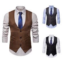Мужской деловой Повседневный облегающий жилет модный мужской