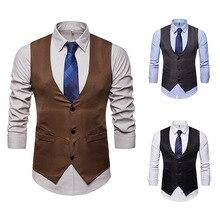 Mens Business Casual Slim Vests Fashion Men Solid Color Single Buttons Fit Male Suit For Spring Autumn S-XXL