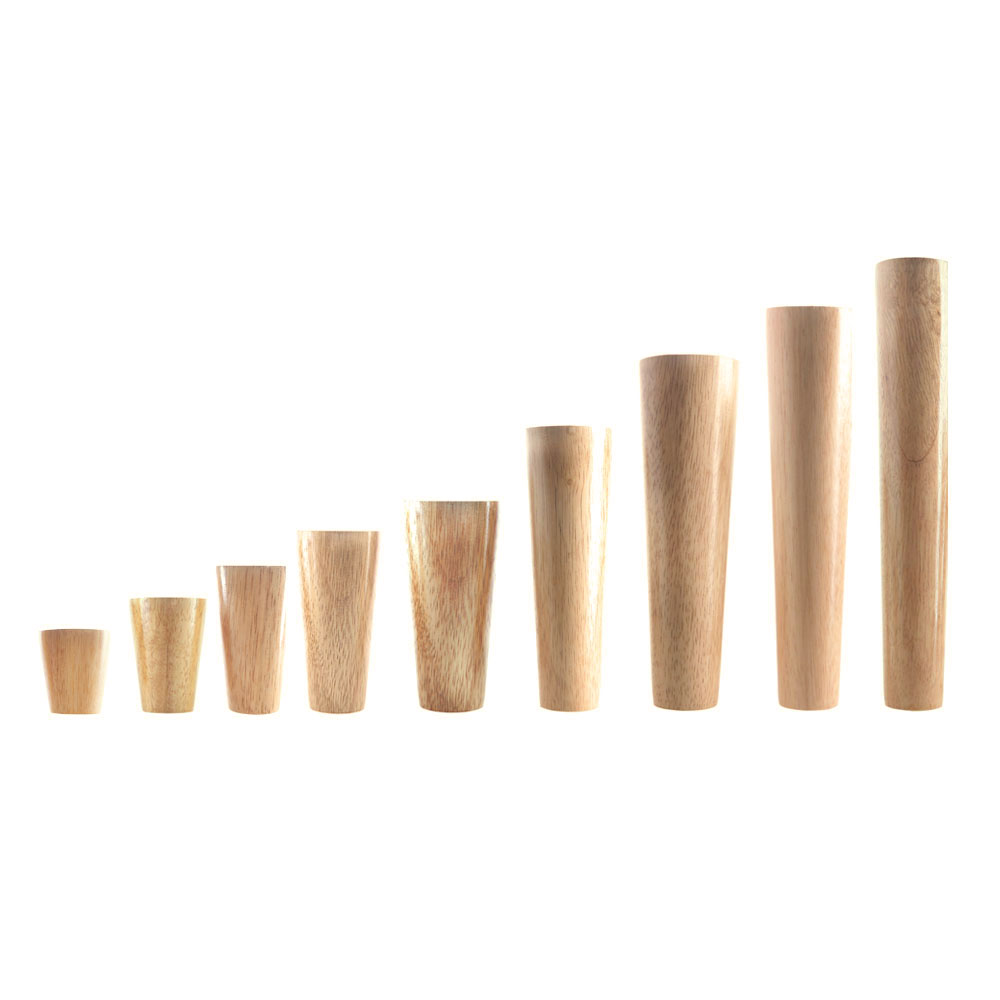 1PCS Natural Solid Wood Furniture Leg Cone Shaped Wooden Carbinet Table Leg