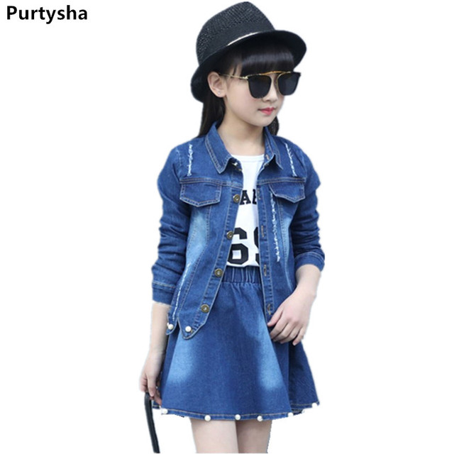 ab1b8758ce Children Clothing Set Boutique Outfits Long Sleeve Denim Jacket Beaded Denim  Skirt Two Piece Teenage Girls Clothes 10 12 Years