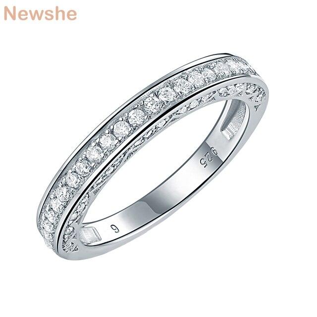 Newshe 925 เงินสเตอร์ลิงตรงSTACKABLEงานแต่งงานแหวนหมั้นสำหรับผู้หญิงเครื่องประดับอินเทรนด์ขนาด 5 12