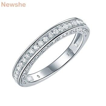 de86f34b2e59 Newshe de Plata de Ley 925 recto apilable anillo de boda compromiso banda  para las mujeres