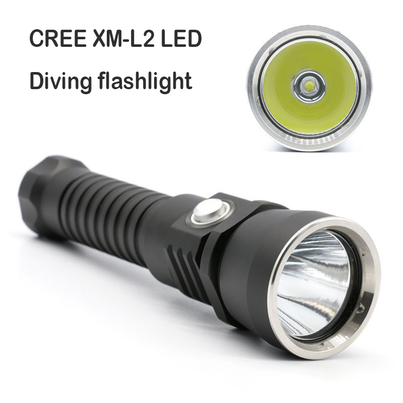 11000 lumens diving flashlight cree xml L2 torch high power adjustable led flashlight 1*26650 battery
