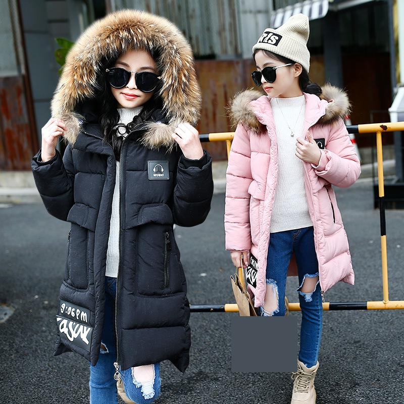 2018 Children Girls Winter Coat Cotton Padded Letter Printted Faux Fur Collar Hooded Thick Warm Jacket Outfits Kids Girl Outwear 2018 new winter big girls warm thick jacket outwear clothes cotton padded kids teenage coat children faux fur hooded parkas p28