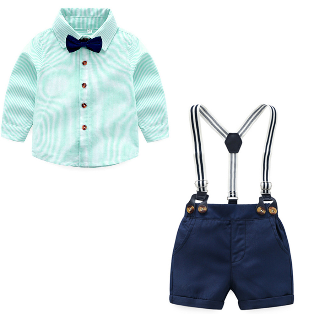 Tem Doger Baby Boys Gentleman Clothes Suit Long Sleeve Cotton Bowtie Shirt + Shorts Overalls 2 Pcs Infant Clothing Outfits