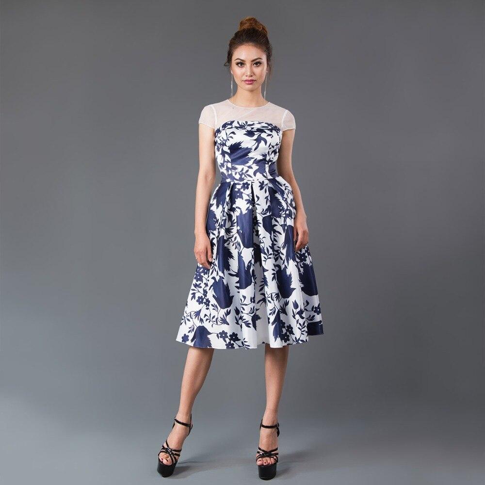 CAZDZY Deep V Printed Knee Length Dress satin Women bridesmaid dress Dark  Navy And White c071240a77f3