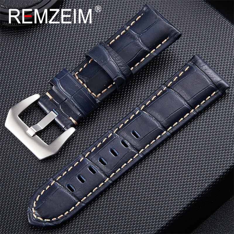 20mm 22mm 24mm 26mm Watchbands Blue Genuine Leather Watch Band Strap Watch Accessories Watch Bracelet Stainless Steel Buckle