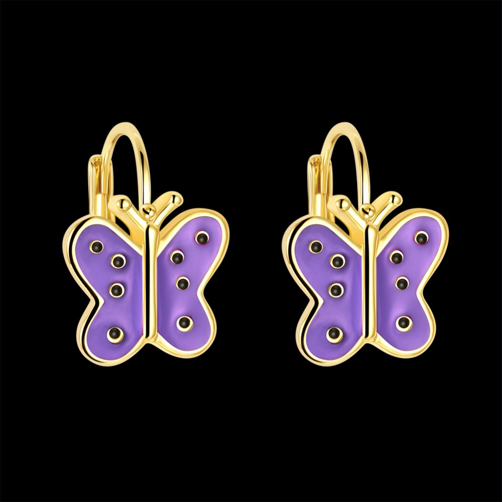 Cute Gold Color Butterfly Purple 7 White CZ Stud Earrings For Women Children Girls Kids Jewellery Orecchini Aros Aretes