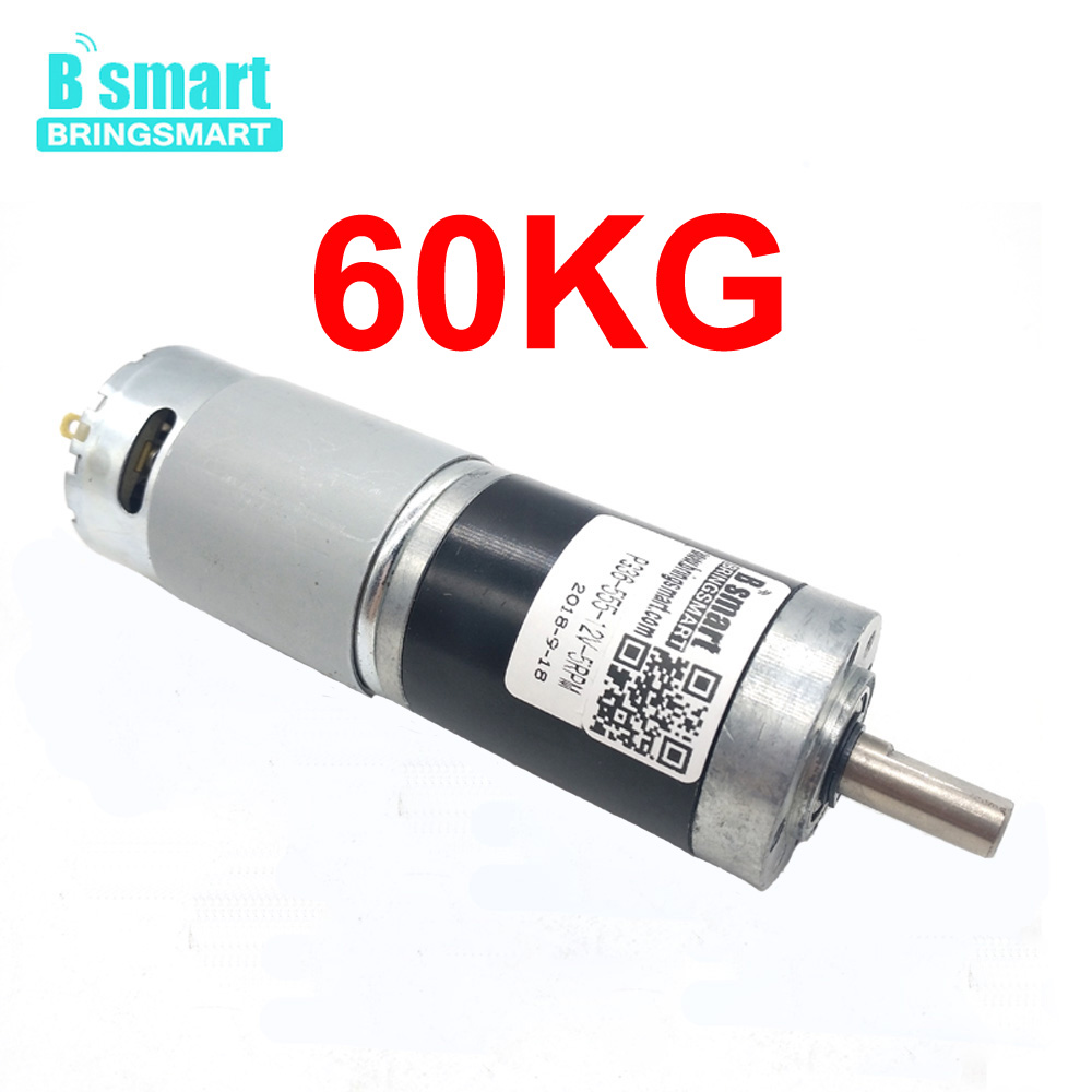 Bringsmart Planetary Geared Motor DC 12V 24V High Torque Motor 60KG 5RPM 10RPM 20RPM Low Noise For Motor DIY 545 large torque dc 3 24v motor low noise motor wind turbines micro motor diy motor for diy toy accessories