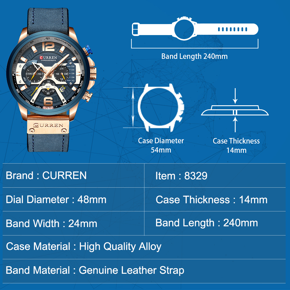 Image 3 - CURREN Casual Sport Watches for Men Blue Top Brand Luxury Military Leather Chronograph Wrist Watch Man Clock Fashion 8329-in Quartz Watches from Watches