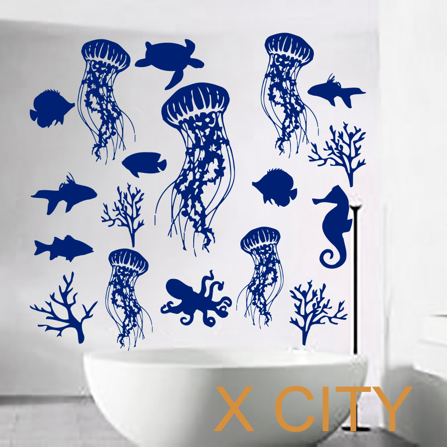Bathroom Sea Wall Decor : Fish wall decal sea shell art jellyfish vinyl