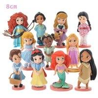 NEW Hot 8cm 11pcs Set Tangled Rapunzel Snow White Ariel Cinderella Princess Collectors Action Figure Toys