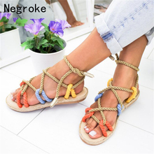 Women Sandals Espadrilles Summer Shoes Woman Flat Sandals Hemp Rope Lace Up Gladiator Beach Chaussures Femme Sandalias Mujer