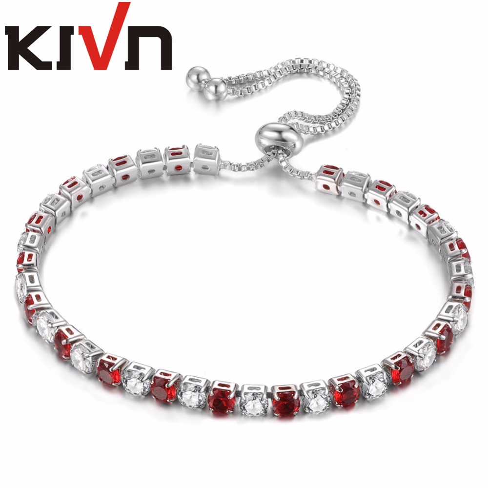 KIVN Jewelry 4mm CZ Cubic Zirconia Adjustable Women Girls Tennis Wedding Bridal Bracelets Birthday Gifts 6pcs Lots Wholesale