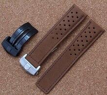 Ручной работы высокое качество тонкой кожи ремешок группы для бренда часы 22 мм с нержавеющей стали пряжкой черный серебристый быстрая доставка