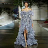 Lace Evening Dresses 2019 Mermaid V Neck Full Sleeves Off Shoulder High Slit Feathers Saudi Arabic Women Formal Prom Party Dress