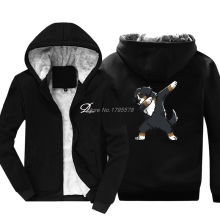 demlfen Print Dabbing Bernese Mountain Dog Cotton Thicken Keep Warm Sweatshirts Man