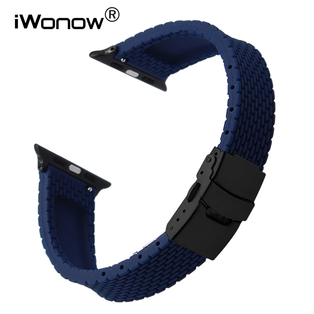 купить Silicone Rubber Watchband for 38mm 42mm iWatch Apple Watch Safety Buckle Band Sports Strap Wrist Bracelet Black Blue Orange Red дешево