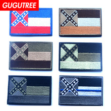 GUGUTREE embroidery HOOK&LOOP Patch state flag patches badges applique for clothing AD-390