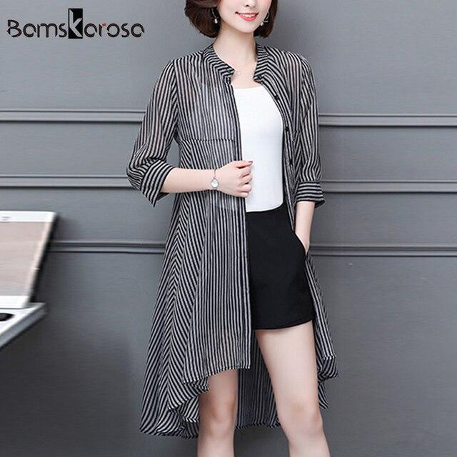 83c156c1d9e Plus Size Female Women Cardigan Kimono Summer Chiffon Vertical Striped Kimono  Long Womens Tops And Blouses